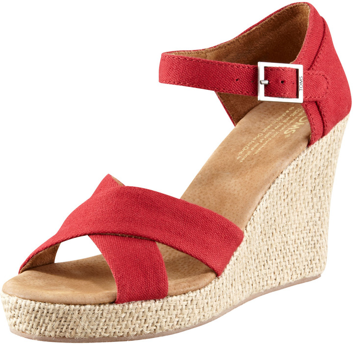 Toms Canvas Wedge Sandal