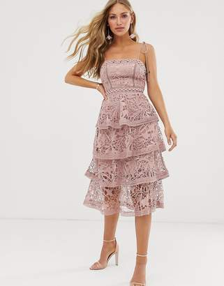 True Decadence premium square neck cami midi dress in all over lace with tiered skirt in soft pink