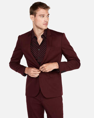 Express Extra Slim Burgundy Cotton Sateen Stretch Suit Jacket