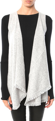 Minnie Rose Cashmere Frayed Trim Vest $253 thestylecure.com