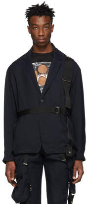 ALMOSTBLACK Navy Belted Blazer Jacket