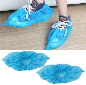 Topeakmart Cleaning 100 Pcs Disposable Boot & Shoe Covers Fabric Blue One Size Fits All