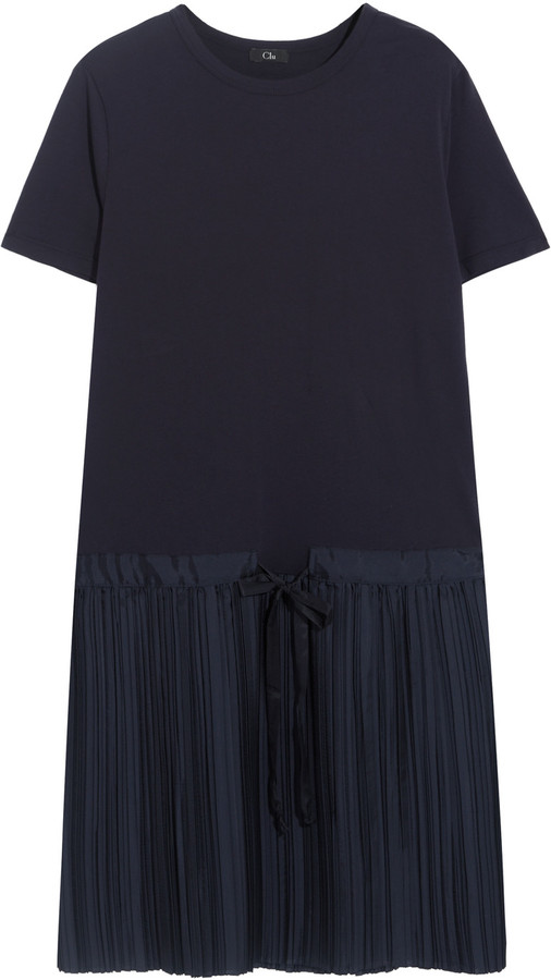 Clu CLU Cotton-jersey and pleated satin-twill dress