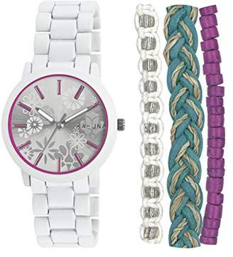 Kahuna Women's Quartz Watch with Silver Dial Analogue Display and White Bracelet KLB-0043LSTK