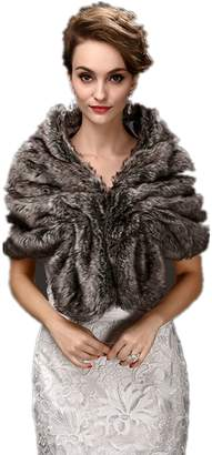 FOLWEP Women's Faux Fur Warm Dress Shawl for Winter Weddings/Party/Show