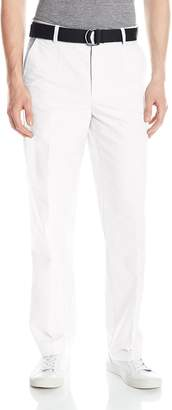 Izod Men's Flat Front Straight Leg Solid Oxford Belted Pant