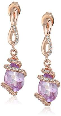 14k Rose Gold Plated Sterling Silver Genuine Amethyst and Created White Sapphire Wrapped Teardrop Dangle Earrings