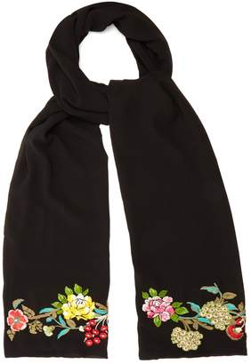 Etro Floral-embroidered silk scarf