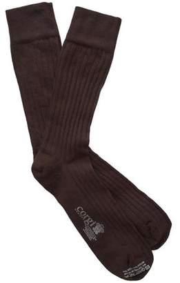 Corgi Solid Chocolate Dress Socks
