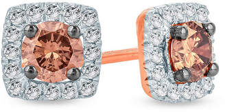FINE JEWELRY 1/2 CT. T.W. Multi Color Diamond 10K Gold 5.8mm Stud Earrings