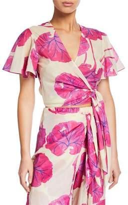 Diane von Furstenberg Hailey Printed Short-Sleeve Beach Wrap Top