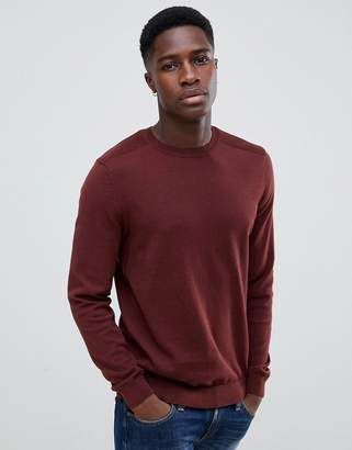 New Look sweater with crew neck in burgundy