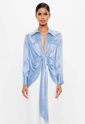 Missguided Blue Satin V Neck Blouse