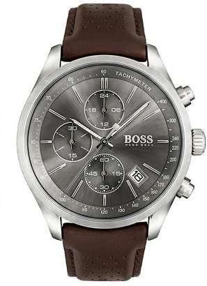 Hugo Boss Black Hugo Boss Black Grand Prix Grey Chronograph Dial Brown Leather Strap Mens Watch