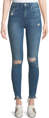 Mother Looker High-Waist Frayed Ankle Skinny Jeans