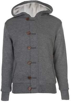 Kangol Mens Button Lined Knit Cardigan Knitwear Jumper Top Long Sleeve Hooded