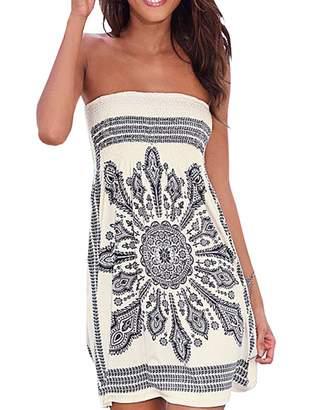 AGL Imagine Women's Strapless Floral Print Bohemian Casual Mini Beach Dress(AG,S)