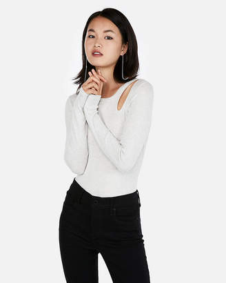 Express One Eleven Ribbed Cut-Out Top