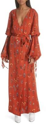 Caroline Constas Doria Puff Sleeve Wrap Dress