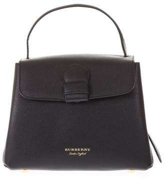 Burberry (バーバリー) - Burberry Black Leather Bag With Side Checked Pattern