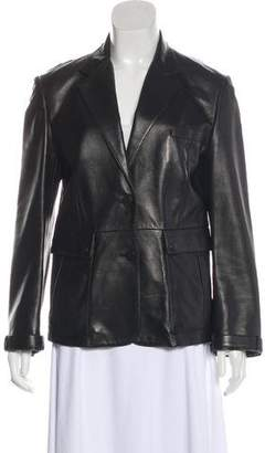 Burberry Leather Long Sleeve Jacket