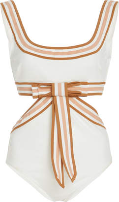 Zimmermann Grosgrain-Trimmed Bow-Embellished Silk Swimsuit Size: 1