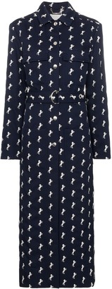 Chloé horse embroidered wool trench coat