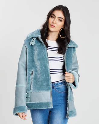 Missguided Faux Fur Ultimate Aviator Jacket