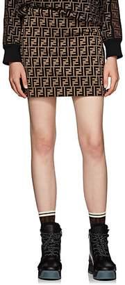 Fendi Women's Logo Cotton-Blend Miniskirt - Brown