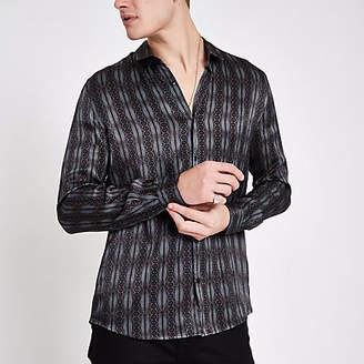 River Island Grey satin print long sleeve shirt