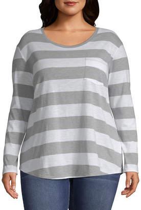 A.N.A Long Sleeve Stripe Pocket T-Shirt - Plus