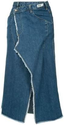 Ground Zero distressed wrapped denim skirt