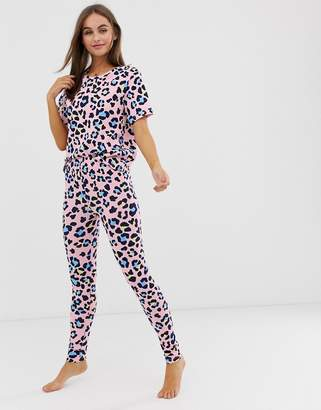 Asos Design DESIGN animal print pyjama legging set