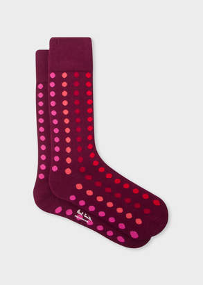 Paul Smith Men's Burgundy Graduated Polka Dot Socks