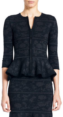 Carolina Herrera Zip-Front Peplum Knit Jacquard Jacket
