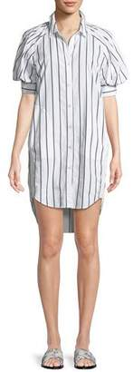Joie Sephira Striped Puff-Sleeve Shirtdress