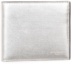 Givenchy Metallic Leather Bi-Fold Wallet, Silver $425 thestylecure.com