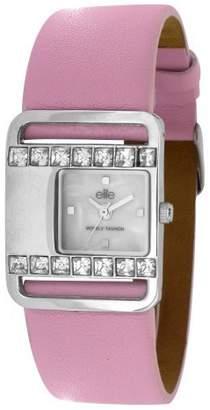 Elite Stella Stone Set Ladies Fashion White Mother Of Pearl Look Dial Watch E5087.2.212