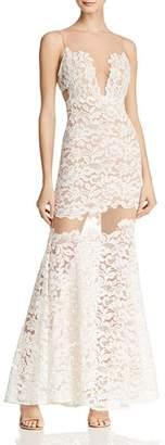 BCBGMAXAZRIA Illusion Lace Gown