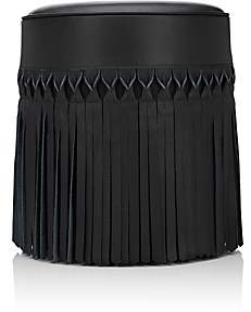 V Rugs & Home Fringed Leather & Cotton Ottoman - Black