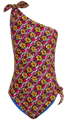 La DoubleJ Goddess Asymmetric Swimsuit - Womens - Pink Print