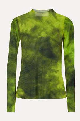 Marques Almeida Marques' Almeida - Tie-dyed Stretch-mesh Top - Lime green