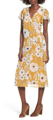 Rowa Row A Floral Surplice Midi Dress