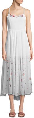 Raga Floral-Embroidered Gauze Maxi Dress