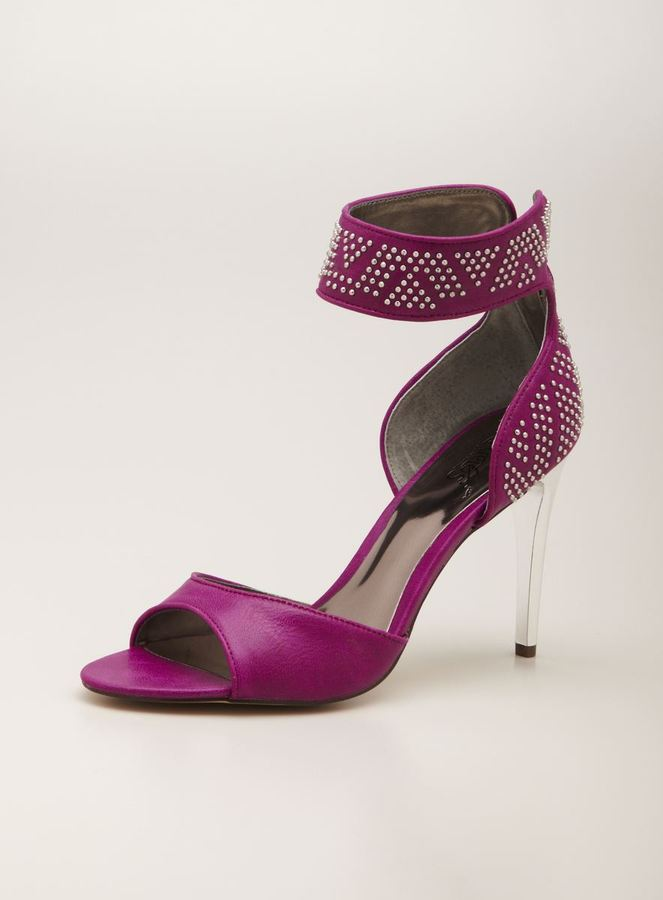 Carlos Santana Claret Studded High Ankle Strap Heels