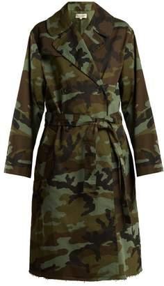 Nili Lotan Farrow Camouflage Print Cotton Blend Trench Coat - Womens - Khaki