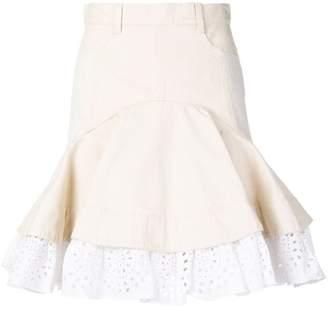 Alexander McQueen frilled denim skirt