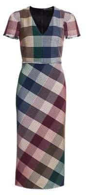Roland Mouret Chaney Check Sheath Dress