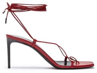 Saint Laurent Paris Ankle Wrap Leather Sandals - Womens - Red