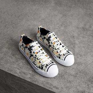 Burberry Daisy Print Cotton Canvas Sneakers